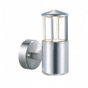 90ø Angled Wall Light with Cylindrical Glass Face in Stainless Steel Vibe Lighting