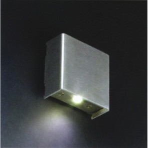 Silver Square LED Surface Mounted Wall Light with 1W White LED Vibe Lighting