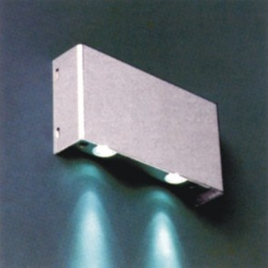 Silver Square LED Surface Mounted Wall Light with 2x1W White LED Vibe Lighting