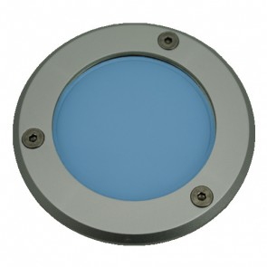 Silver Trim LED Weatherproof Inground Uplight in Blue Vibe Lighting