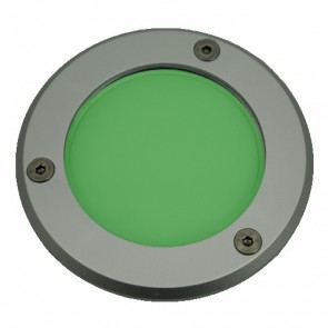 Silver Trim LED Weatherproof Inground Uplight in Green Vibe Lighting