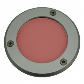 Silver Trim LED Weatherproof Inground Uplight in Red Vibe Lighting