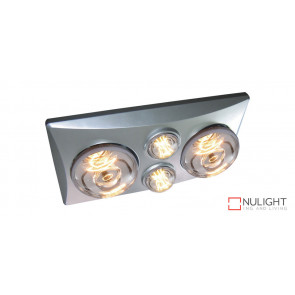 EKO DUO - 2 Light 3 in 1 Bathroom Heat Exhaust - side ducted -  2 centre 6 watt LED energy saver globes - Silver VTA