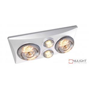 EKO DUO - 2 Light 3 in 1 Bathroom Heat Exhaust - side duct -  2 centre 6 watt LED energy saver globes - White VTA