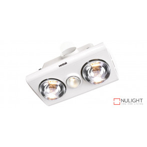 KLEIN 2 - Budget 2 Light 3 in 1 Bathroom Heat Exhaust - side duct - R63 60watt Incandescent Globe - White VTA