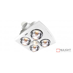 KLEIN 4 - Budget 4 Light 3 in 1 Bathroom Heat Exhaust - side duct - R80 100watt Incandescent Globe - White VTA