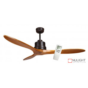 LOTUS IQ - 54 inch 1350mm DC Energy Saving Ceiling Fan - 3 Natural Timber Blades - Incl LCD Display Remote Control VTA