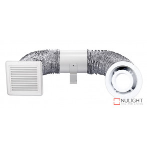SHOWER LIGHT And EXHAUST KIT - 150mm Inline Exhaust Fan And Ducting Kit with White 10 watt LED Light Fascia VTA