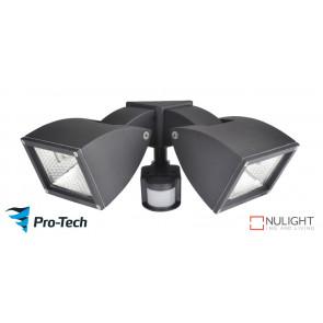 WEDGE - 2 Light Floodlight in Matte Black - Motion Sensor VTA