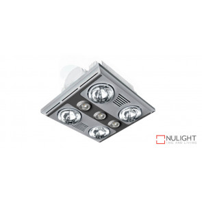 GARRISON 4 - 4 Light 3 in 1 Bathroom Heat Exhaust 4 x 375w With 3 x LED Centre Lights (4000K NW)- Silver VTA